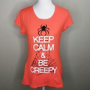 """Keep Calm and Be Creepy"" Orange T-shirt Jr. L"